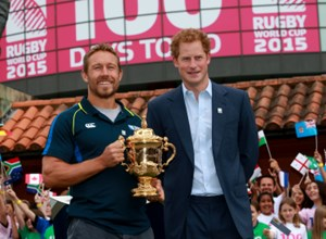 PRINCE HARRY LAUNCHES THE RUGBY WORLD CUP TROPHY TOUR TO MARK 100 DAYS TO GO TO RUGBY WORLD CUP 2015
